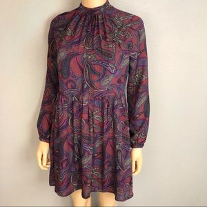 Jack BB Dakota Paisley Babydoll Dress Long Sleeve